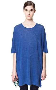 Image 1 of SPECIAL OVERSIZE  LINEN T-SHIRT from Zara