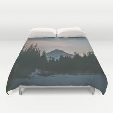 Frozen Mirror Lake Duvet Cover