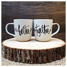 Great gift for the newlyweds! Perfect for the bridal shower or a wedding gift.    14oz mugs:)    Customize with wedding date, names and colors!