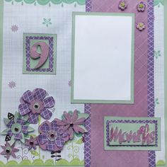 """Two 12""""x 12"""" pre-made scrapbook pages for your baby girl's 9 month pictures by Carolsues on Etsy"""