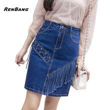 RENBANG Washed Denim Side Lace Up Women Skirt Tassel New Fashion Pencil Skirt Short Streetwear Casual Mini Denim Skirt(China)
