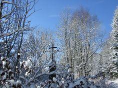 Winter cross in the Polish- Czech border in Krkonoše mountain up to village Albeřice