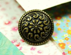 Seawave and Flower Metal Buttons , Antique Brass Color , Shank , 0.91 inch , 6 pcs by Lyanwood, $4.00