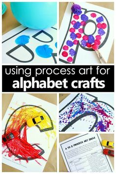 Tips for using process art for alphabet crafts to combine art and letter recognition in preschool. Great for ABC books and ABC activities!