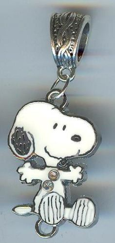 SNOOPY DOG w/Crystals Jumping Character, Charlie Brown, Charm Fits European and Charm Bracelets, Pet Collars, Backpack, Key Ring - E26 on Etsy, $9.00