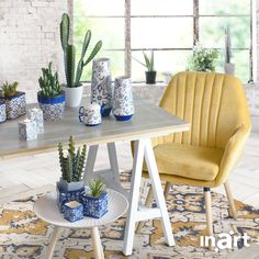 A nature-loving home appreciates natural materials and welcomes tiny little plants all around your space. Isn't it beautiful? Discover more at www.inart.com #inartLiving