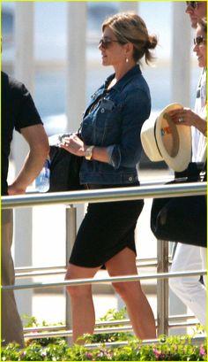 Jennifer Aniston outfit: Basic black dress with a jeans jacket
