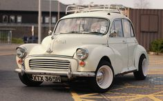 Morris Minor on banded steelies Retro Cars, Vintage Cars, Antique Cars, Morris Minor, My Dream Car, Dream Cars, Classic Trucks, Classic Cars, Automobile