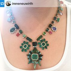 Dying over this @ireneneuwirth #necklace. #ireneneuwirth #emeralds #turquoise #tanzanite #sapphire #pearls #oneofakind #jewelry