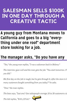 """The following is a joke that's been spreading online A young guy from Montana moves to California and goes to a big """"everything under one roof"""" department store looking for a job..."""