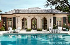 Pool House with classical architecture, a St. Louis pool house designed by Marshall Watson. Image via Traditional Home. Yeah--mine won't look like this. Pool House Designs, Swimming Pool Designs, Swimming Pools, Architecture Antique, Classic Architecture, Pool Bad, Pool Cabana, Luxury Pools, Villa
