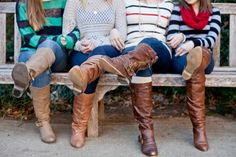A legs shot with mom, with rubber boots or farm boots - arms intertwined and sitting on the picnic bench