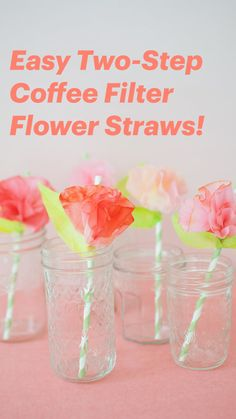 Paper Flowers For Kids, Diy Flowers, Tissue Paper Flowers Easy, Flower Diy, Coffee Filter Crafts, Coffee Filter Flowers, Diy Crafts For Gifts, Crafts For Kids, Fun Crafts