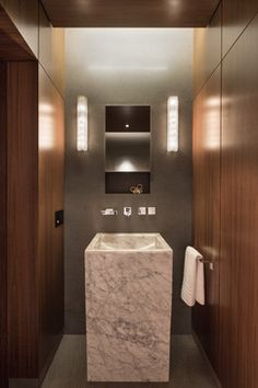 Photos Of Modern Scientist Residence modern powder room miami Touzet Studio Bathroom MirrorsBathroom