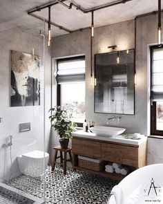 "1,005 Likes, 42 Comments - inscapesdesign@gmail.com (@inscapesdesign) on Instagram: ""Love this bathroom with patterned tiling and industrial style lighting to create a unique and…"""