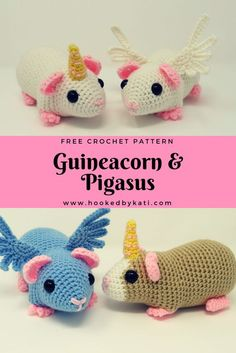 Guinea Pig Unicorn and Pegasus, Guineacorn and Pigasus Free Crochet Pattern | Hooked by Kati