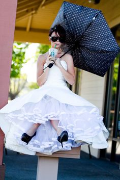 """Fun modern bride bridal gown dress with Jennifer Bagwell Photography & The Frosted Petticoat Perfert! This pose has """"Heather"""" all over it. Bridal Shoot, Bridal Gowns, Wedding Gowns, Wedding Bells, Geek Wedding, Red Bridesmaid Dresses, Under My Umbrella, Marrying My Best Friend, Cute Wedding Ideas"""