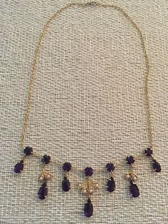 Antique Gold Necklace with 14 Deep Purple Amethysts and Pearls in a Leaf Design. Necklace approximately 15 inches long. One tiny seed pearl missing on leaf. 14k Gold Necklace, Arrow Necklace, Amethysts, Jade Pendant, Coral Turquoise, Gold Style, Rose Cut Diamond, Gold Pearl, Purple Amethyst