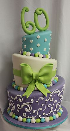 topsy turvy 60 cake by Amanda Oakleaf Cakes, via Flickr