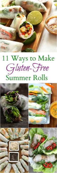 11 Delicious Ways to Make Gluten-Free Summer and Spring Rolls 11 delicious, creative ways to make Spring Rolls and Summer Rolls l StephinThyme for Food Gf Recipes, Asian Recipes, Vegetarian Recipes, Cooking Recipes, Healthy Recipes, Celiac Recipes, Coctails Recipes, German Recipes, Cooking Kale