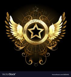 Star with golden wings. Gold star with a circular banner, decorated with golden , Gold Foil Background, Confetti Background, Star Background, Cross With Wings, Golden Wings, Steampunk Clock, Christmas Background Vector, Rainbow Butterfly, Cross Art