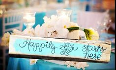 Happily ever after starts here photo prop Tiffany aqua turquoise  rustic shabby wedding theme  on Etsy, $19.00