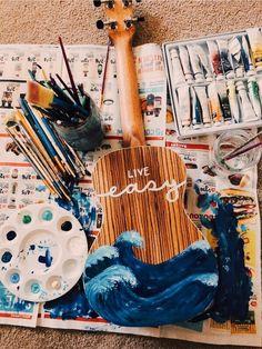 I want to paint my ukulele but I feel like I will mess up. Guitar Painting, Painting & Drawing, Guitar Art Diy, Diy Painting, Arte Do Ukulele, Ukulele Songs, Ukulele Chords, Painted Ukulele, Arte Sketchbook