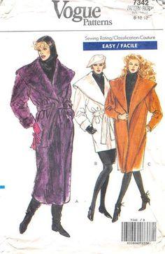 VOGUE 7342 - FROM 1988 - UNCUT - MISSES HALF-SIZE COAT
