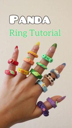 Diy Crafts To Do, Diy Crafts Jewelry, Clay Crafts, Fimo Ring, Polymer Clay Ring, Polymer Clay Animals, Fimo Tutorial, Diy Clay Rings, Motifs Perler