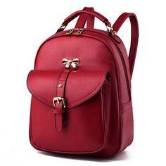 new arrival 2016 women leather backpacks womens travel bags brand school backpack black shoulder bags mochila feminina BD-174
