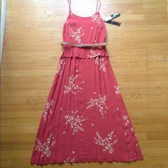 Pretty Coral/Pink KENZIE Midi Dress Summer Midi Dress by KENZIE.  Peplum style top with elastic waist and brown belt. Adjustable spaghetti straps. Skirt has side slit.  100% Rayon. kenzie Dresses Midi
