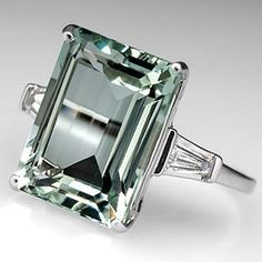 Vintage Prasiolite Cocktail Ring w/ Diamonds 14K White Gold