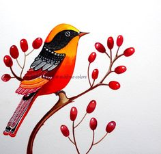 Items similar to Red Bird with red poppy, floral, woodland. Original watercolor painting, wall art, room decor on Etsy - Red bird with red poppy. Original watercolor painting for your wall. My paintings are bright and pa - Fabric Painting, Watercolor Paintings, Painting Abstract, Tree Wall Art, Bird Illustration, Red Poppies, Mail Art, Bird Art, Rock Art