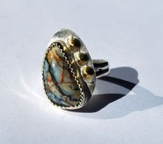 Picasso Jasper Ring - Sterling Silver Ring - Ring Size 7 plus