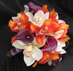 plum, green, orange, calla lily wedding bouquets | touch bouquet calla orchid this natural touch bouquet features orange ...