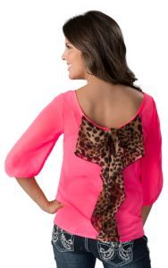 Karlie® Women's Neon Pink with Leopard Bow Back 3/4 Sleeve Fashion Top | Cavender's <3 this!!!!
