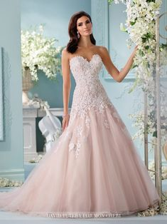 Wedding gown by David Tutera for Mon Cheri.Check out more gorgeous dresses in our David Tutera for Mon Cheri gown gallery ► Mon Cheri Wedding Dresses, Spring 2017 Wedding Dresses, Mon Cheri Bridal, How To Dress For A Wedding, Colored Wedding Dresses, Spring Dresses, Designer Wedding Dresses, Bridal Dresses, Summer Wedding