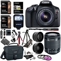 Canon EOS Rebel T6 Digital SLR Camera Kit with EF-S 18-55mm f/3.5-5.6 IS II Lens 2X Lexar 32GB 633x Memory Card Canon Bag and Accessory Bundle