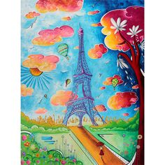 """Dreaming of Paris"" Original Pop Art Style Colorful Eiffel Tower Painting - MADART Website Original Paintings  megan duncanson©  #MADART #MADPoPArt #MeganDuncanson"