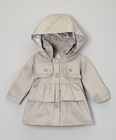 Take a look at this Beige Hooded Ruffle Trench Coat - Infant, Toddler & Girls by Sweet Charlotte on #zulily today!