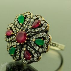 Turkish Hurrem Ottoman Ruby Emerald Topaz 925K Sterling Silver Ring Size 10
