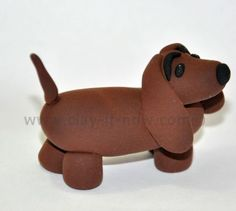dachshund figurine with clay or fondant tutorial, short-legged long-bodied dog breed, dachshund