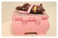 boite à musique, boite à musique en bois, boite à musique rose, boite à musique bébé, boite musique fimo : Boîtes, coffrets par popeline
