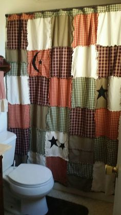 Primitive Shower Curtain Raggy By PrimAndClutter Curtains