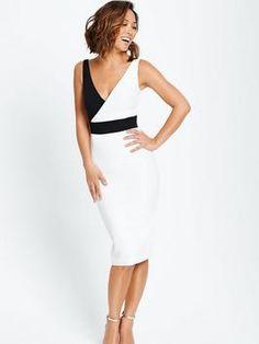 White and Black Colour Block Bodycon Dress