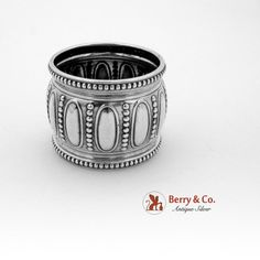 Beaded Oval Cameo Heavy Napkin Ring Sterling Silver Gorham 1900