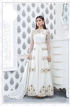 White Color Georgette Fabric Long Anarkali