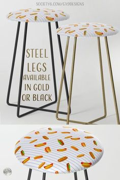 """* Fun Kitchen Decor! * Hot Dog Pattern With Pinstripes Counter Stool by #Gravityx9 at Society6 * Measures 15"""" x 15"""" x 25"""" (H) * Legs measure 23"""" high * Steel legs available in gold or black * This design is available on Tee Shirts, carry-all tote bags, drink coasters, serving trays, pillows, home decor and more. * decor home furnishings * custom furnishings * #homedecor #furnishings #furnishings #barstool #seating #customstool #custombarstool #hotdogs #frankfurters #wieners #inthekitchen 0721 Home Decor Furniture, Custom Furniture, Home Furnishings, Custom Bar Stools, Dog Pattern, Food Themes, Serving Trays, New Pins, Counter Stools"""