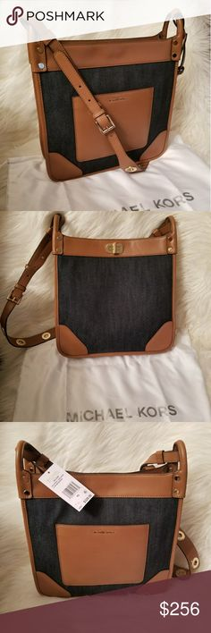 """NWT* Michael Kors Messenger Bag* NWT* Michael Kors Large Messenger Bag* Sullivan* Crafted from lightweight Denim & Ultra Smooth Leather, the Sullivan Messenger offers an elevated way to accessorize* Made of coated canvas with sophisticated leather trim. Turn lock closure.Buckle-adjustable crossbody strap. Features a back-wall zip pocket and multifunctional slip pockets* Approx. Dimensions: 11.75"""" (L) x 11.5"""" (H) x 3.25"""" (W) *Adjustable Strap 17"""" to 21.5""""* Dustbag included* Reasonable offers…"""