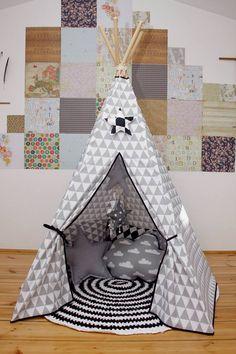 #pacztipi #pacz #teepee #tipi #wigwam #tent #crochet #pillows #stars #clouds #radosnafabryka #handmade Cotton Fabric, Toddler Bed, Kids Rugs, Furniture, Home Decor, Quartos, Homemade Home Decor, Kid Friendly Rugs, Cotton Textile